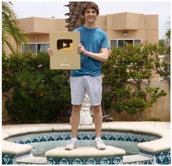 Matt Par with his Gold Play Button