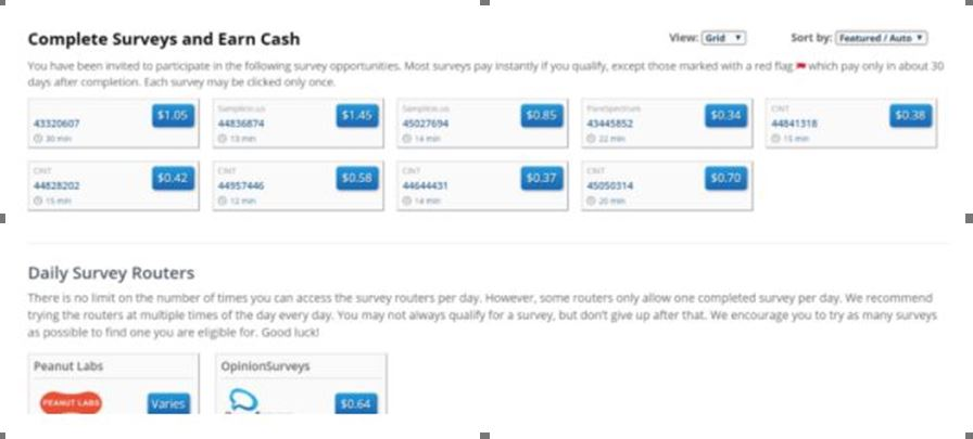 Ysense Review - ySense snapshot showing surveys and their subsequent cash rewards